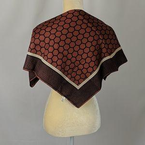 Vintage brown honeycomb pattern scarf